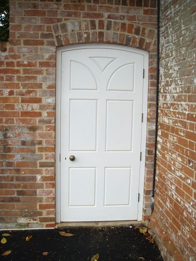White timber garden door