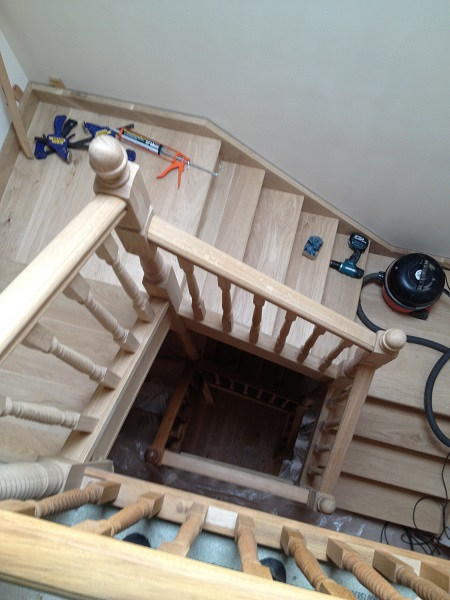 Oak staircase over 3 levels