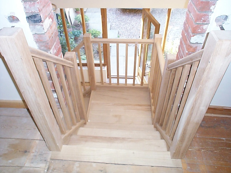 Stop chamfered Oak staircase with open riser. 2