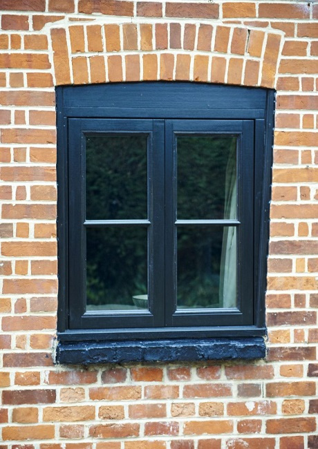 Double casement black window with horizontal bar