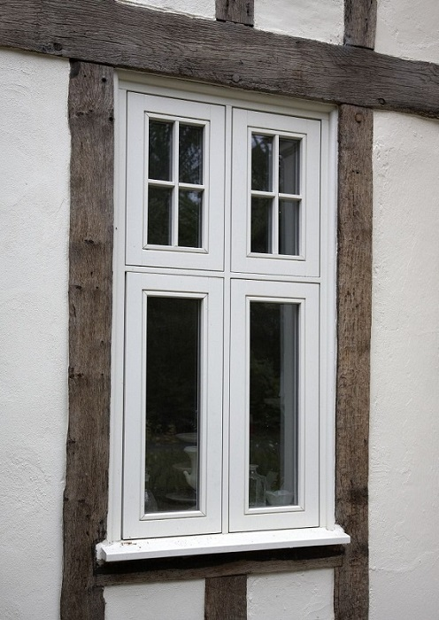 White double casement window